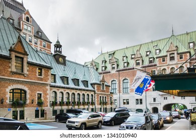 Quebec City, Canada - August 5, 2015strolling in the street of Quebec City and visit the Frontenac castle during a summer morning.