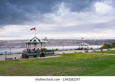 Quebec City, Canada - August 5, 2015strolling  the Dufferin terrace in  Quebec City near the Frontenac castle during a cloudy morning.