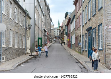 Quebec City, Canada - August 6, 2015:strolling in  Quebec City during a cloudy morning.
