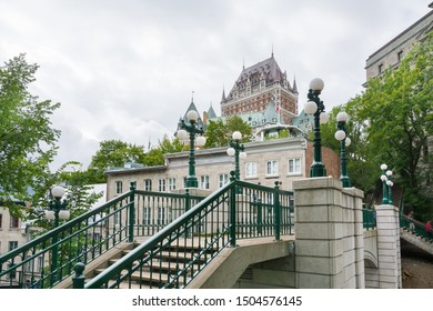 Quebec City, Canada - August 6, 2015strolling in  Quebec City near the Frontenac castle during a cloudy morning.