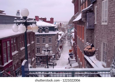 Quebec City, Canada - December 13, 2017: Quartier Petit Champlain on Rue du Petit Champlain in Winter With Snow on the Ground After a Snowstorm