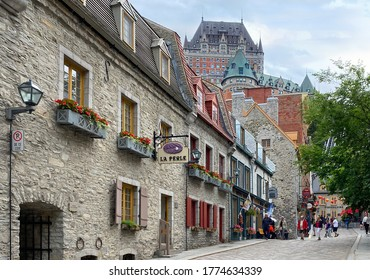 QUEBEC CITY, CANADA - JULY 07, 2020: People enjoying walking and shopping on Sous-le-Fort Street, lower town. Quebec City sits on the Saint Lawrence River in Canada's mostly French-speaking province.