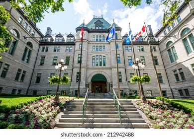QUEBEC CITY, CANADA- JULY 1 2012: Facade of City Hall of Quebec City.