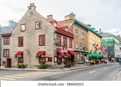 QUEBEC CITY, CANADA - JULY 27, 2015: The ancient architecture of Quebec City. As the capital of the Canadian province of Quebec, it is one of the oldest cities in North America.