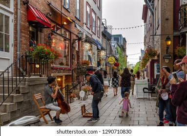 Quebec City, Canada - June 26, 2018: Rue du Petit-Champlain at Lower Town (Basse-Ville). This Historic District of Quebec City is UNESCO World Heritage Site.
