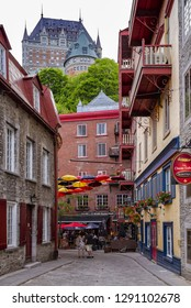 Quebec City, Canada - June 26, 2018: Rue du Petit-Champlain at Lower Town (Basse-Ville). This Historic District of Quebec City is UNESCO World Heritage Site.