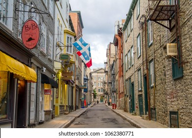 Quebec City, Quebec, Canada, June 28, 2017: Dark clouds hang above  Herbert Street in Old Quebec City.