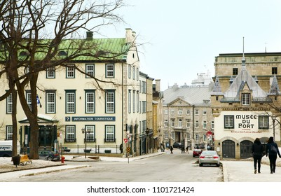 QUEBEC CITY, CANADA - MARCH 14: Rue Sainte-Anne at Upper Town (Haute-Ville) on March 14, 2017 in Quebec City, Quebec, Canada. Historic District of Quebec City.