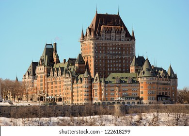 QUEBEC CITY, CANADA - MARCH 9, 2012: The Chateau Frontenac on March 9, 2012 is a grand hotel in Quebec City, Quebec, Canada and is designated as a National Historic Site of Canada.