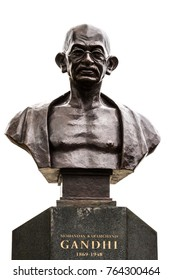 QUEBEC CITY, CANADA - MAY 23, 2017: Statue bust of Mahatma Gandhi by Gautam Pal, located in Quebec City, Quebec, Canada.