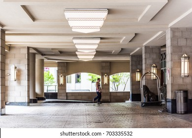 Quebec City, Canada - May 29, 2017: Hotel Palace Royal building entrance with columns and lions in old town