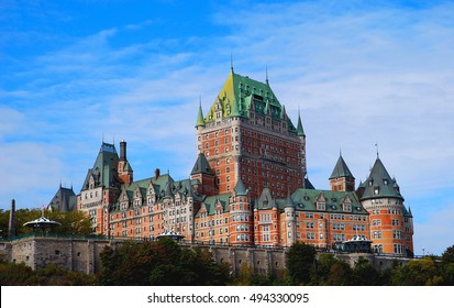Quebec City, Canada - Oct 5: Chateau Frontenac hotel in Quebec City, Canada on Oct 5, 2008. Fairmont Le Chateau Frontenac is a famous hotel in Canada with castle like architecture.