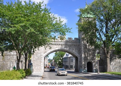 QUEBEC CITY, CANADA - SEP 10: St. Louis Gate on September 10, 2011 in Quebec City, Canada. The wall surrounds most of Old Quebec, which was declared a World Heritage site by UNESCO in 1985.