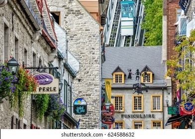 Quebec City, Canada -September 19, 2012:  The Old Quebec Funicular is an old cable railway that served the city for over a century in Old (Vieux ) Quebec City in Quebec province, Canada.