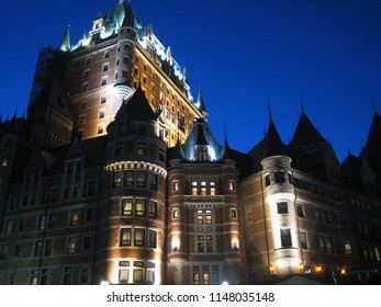Quebec City. Quebec. Canada. September 2006. Fairmont le Chateau Frontenac at night.