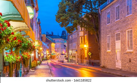 QUEBEC CITY, QUEBEC, CANADA - September 23, 2019 : Old town area in Quebec  city, Canada at twilight