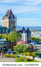 Quebec City, Canada - September 27, 2018: View of the old town from the citadel, with locals and visitors, Quebec City, Quebec, Canada