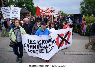 QUEBEC CITY - JUNE  7: Anti G7 protesters chanting slogans during a rally to protest the G7 summit  on June 7  2018 in  Quebec City ,Canada