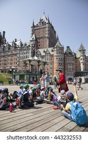 QUEBEC CITY - MAY 23, 2016: The Dufferin Terrace overlooks the St. Lawrence River right by the Chateau Frontenac. This terrace owes its name to Lord Dufferin, the governor of Canada from 1872 to 1878.