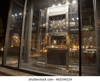 QUEBEC CITY - MAY 24, 2016: This monumental clock, known as the Jura clock, the only one of its kind built by Richard Mille, is a gift from Switzerland for Quebec City's 400th anniversary.