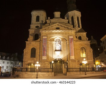 QUEBEC CITY - MAY 24, 2016:  View of the Cathedral-Basilica of Notre-Dame de Quebec at night,  is the primatial church of Canada and the seat of the Roman Catholic Archdiocese of Quebec.