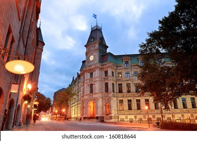 Quebec City old street at dusk