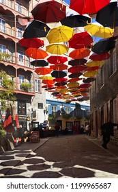 Quebec City, Que/Canada-October 1 2018: Rue de Cul de Sac in Quartier Petit Champlain decorated with umbrellas.