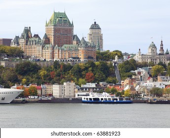 Quebec city skyline and Saint Lawrence River in autumn