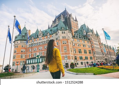 Quebec city travel woman walking on Promenade Terrasse Duffering visiting old town. Autumn Canada vacation destination for cruise ships.