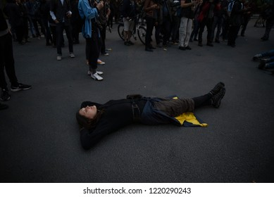 QUEBEC CITY-JUNE 7: A protester lying on the floor during a rally to protest the G7 summit  on June 7  2018 in  Quebec City ,Canada