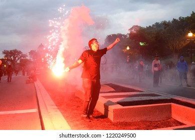QUEBEC CITY-JUNE 7: Protesters throwing flares during a rally to protest the G7 summit  on June 7  2018 in  Quebec City ,Canada