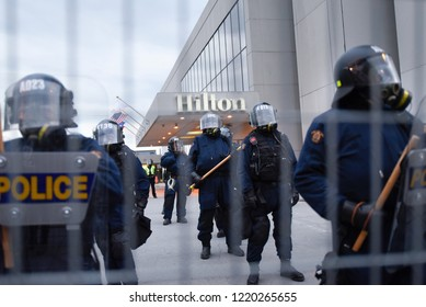 QUEBEC CITY-JUNE 7: Riot police protecting a hotel during a rally to protest the G7 summit  on June 7  2018 in  Quebec City ,Canada