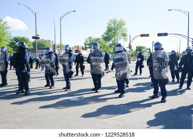 QUEBEC CITY-JUNE 8:  Riot police with riot gears barricading a street during a rally to protest the G7 summit  on June 8 2018 in  Quebec City