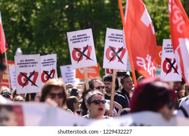 QUEBEC CITY-JUNE 9: Protesters walking with anti G7 signs and banners during a rally to protest the G7 summit  on June 9  2018 in  Quebec City ,Canada