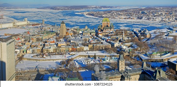 Quebec Lower City and St. Lawrence River panorama in winter, Quebec, Canada. Historic District of Quebec City is UNESCO World Heritage Site since 1985.