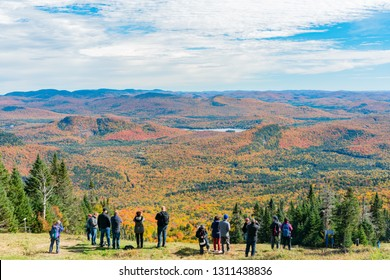 Quebec, OCT 1: Aerial view of Mont-Tremblant National Park in fall color on OCT 1, 2018 at Quebec, Canada