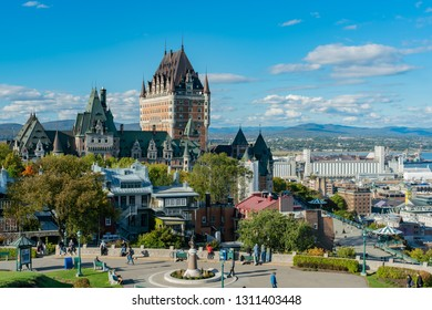 Quebec, OCT 1: Exterior view of the famous Fairmont Le Château Frontenac on OCT 1, 2018 at Quebec, Canada