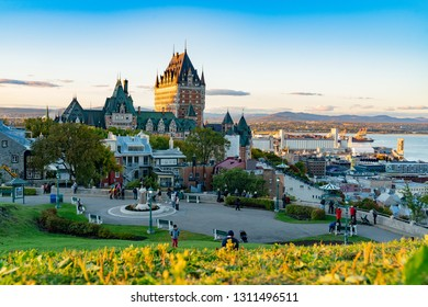 Quebec, OCT 1: Sunset view of the famous Fairmont Le Château Frontenac on OCT 1, 2018 at Quebec, Canada