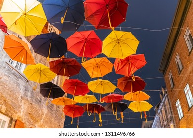 Quebec, OCT 3: Night view of the Breakneck Steps area with colorful umbrella hanging on OCT 3, 2018 at Quebec, Canada