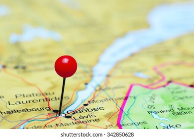 Quebec pinned on a map of Canada