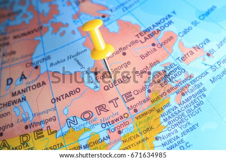 Quebec On Map Of Canada.Quebec Pinned On Map Canada Stock Photo Edit Now 671634985