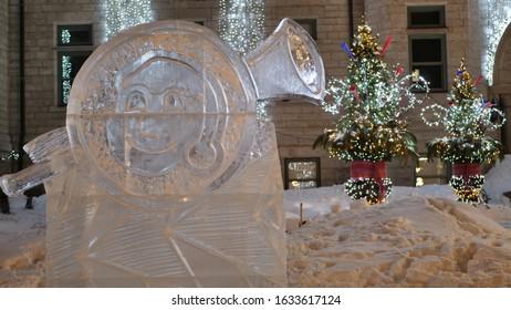 Quebec Quebec/Canada 02/02/2020 Carnaval de Quebec. The Carnival - Bonhomme ice sculpture - Carnaval of Quebec