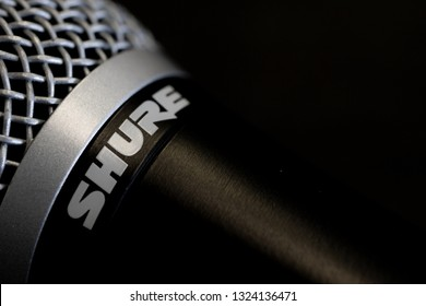 Quebec, Quebec/Canada - 02/26/2019: Close up of a Shure microphone on a black background