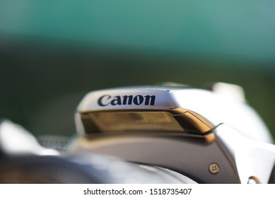 QUEBEC - SEPTEMBER 30, 2019: Canon logo on old manual 35mm film EOS Rebel K2 camera