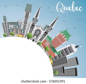 Quebec Skyline with Gray Buildings, Blue Sky and Copy Space. Business Travel and Tourism Concept with Historic Architecture. Image for Presentation Banner Placard and Web Site.