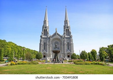 QUEBEC-CANADA 17 AUG 2017: Basilica of Sainte-Anne-de-Beaupre during summer season in Quebec, Canada. It has been credited by Catholic church with many miracles of curing the sick and disabled.