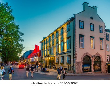 QUEBEC,CANADA - JUNE 16,2018 - Evening in the streets of Quebec. Quebec is the capital city of the Canadian province of Quebec.