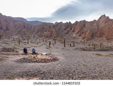 Quebrada del Toro, Salta, Argentina - Apr 26, 2018: Handicraft seller in a road of Quebrada del Toro in Northern Salta Puna - Quebrada del Toro, Salta, Argentina