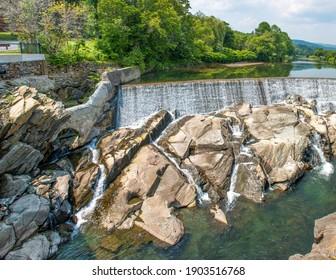 Quechee Falls in Quechee Village Vermont USA