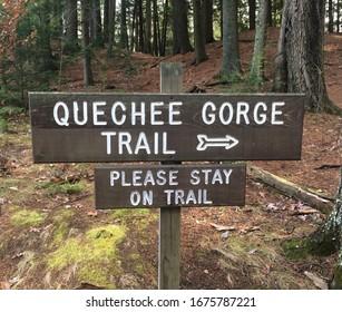 A Quechee Gorge Trail sign, in Quechee, Vermont.